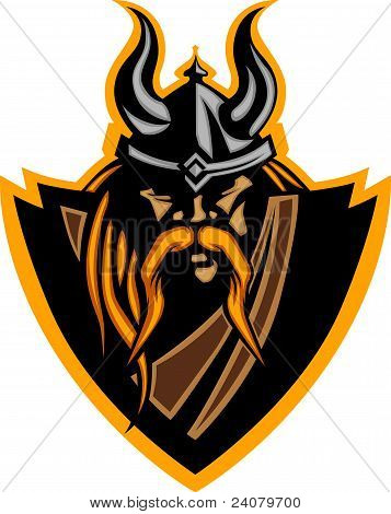 Viking Mascot Vector Graphic With Horned Helmet.viking Mascot Vector Graphic With Horned Helmet.