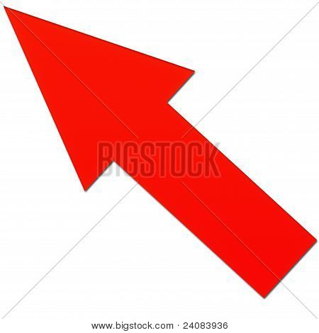 Arrow pointing the red on a white background