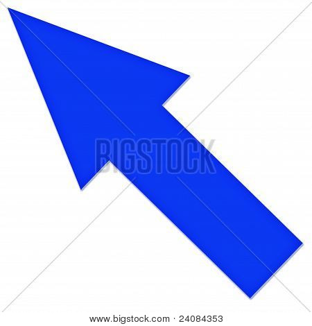 Arrow pointing the blue on a white background