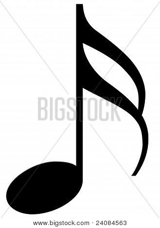 Sixteenth note on a white background (musical symbol)