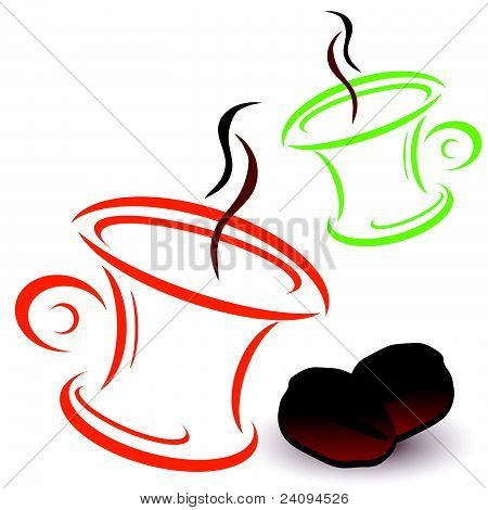 Coffee Bean And Cups Vector Illustration