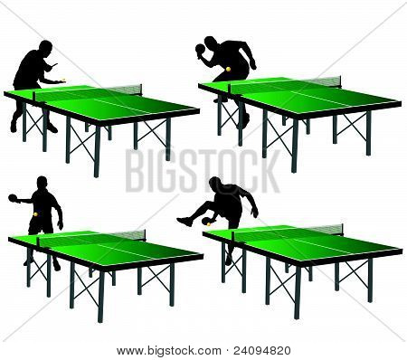 Ping Pong Players With Green Table
