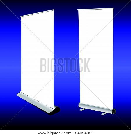 Roll Up Banner On Blue Background