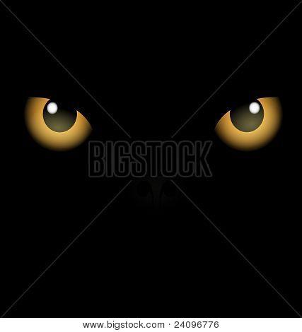 black background yellow eyes