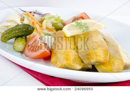 Fresh Scottish Kipper With Organic Salad On A Plate