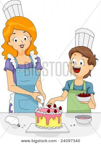 Illustration of a Woman and a Boy Decorating a Cake