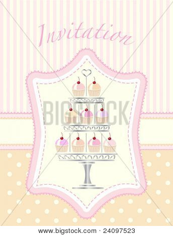 A stencil style silver cake stand full of cherry cupcakes. Suitable for wedding or party invitations. EPS10 vector format. Easily editable for insertion of your on text.