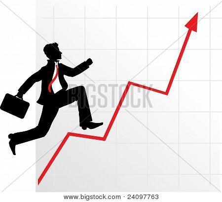 Running businessman on successful diagram