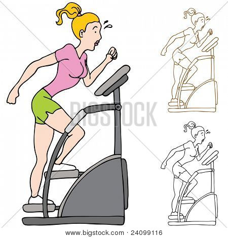 An image of a woman exercising on a stairclimbing machine.