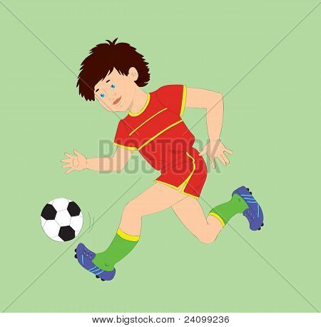 The Boy With A Ball Playing Football.