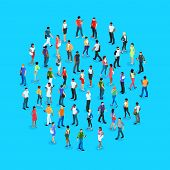 Set Of Isometric People With Different Skin Color. Crowd Of People. 3d Men And Women View Front And  poster