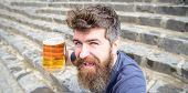 Guy Having Rest With Cold Draught Beer. Hipster On Happy Face Drinking Beer Outdoor. Friday Relax Co poster