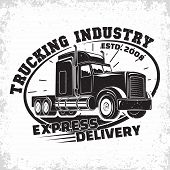 Trucking Company Logo Design, Emblem Of Truck Rental Organisation, Delivery Firm Print Stamps, Heavy poster