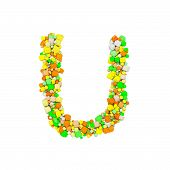 Alphabet Letter U Uppercase. Funny Font Made Of Orange, Green And Yellow Shape Cube. 3d Render Isola poster