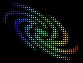 Dot Colorful Halftone Galaxy Icon Drawn With Rainbow Color Variations With Horizontal Gradient On A  poster