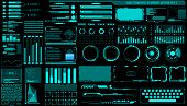 Hud Hologram Futuristic Elements Set Vector. Abstract Virtual Graphic For User Interface Control Pan poster