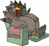 stock photo of recliner  - This illustration depicts a tired turkey sitting in a recliner chair - JPG