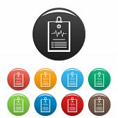 Cardiogram On Tablet Icon. Simple Illustration Of Cardiogram On Tablet Vector Icons Set Color Isolat poster