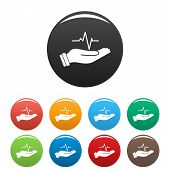 Heartbeat Icon. Simple Illustration Of Heartbeat Vector Icons Set Color Isolated On White poster