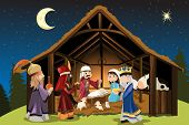 image of manger  - A vector illustration of Christmas concept of the birth of Jesus Christ with Joseph and Mary accompanied by the three wise men - JPG