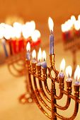 image of menorah  - Menorahs lit for the eighth night of Hanukkah - JPG
