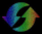 Pixelated Impressive Halftone Refresh Icon Drawn With Rainbow Color Hues With Horizontal Gradient On poster