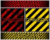 Grunge Danger Sign. Scratched And Dirty Inscription danger In Yellow And Red Backgrounds. Ribbons, poster