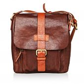 Brown Leather Bag Isolated poster