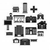 City Infrastructure Items Icons Set. Simple Illustration Of 16 City Infrastructure Items Vector Icon poster