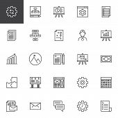Startup And New Business Outline Icons Set. Linear Style Symbols Collection, Line Signs Pack. Vector poster