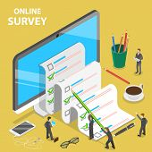 Online Survey Flat Isometric Vector Concept. Group Of People Are Filling Out A Paper Survey Form Tha poster