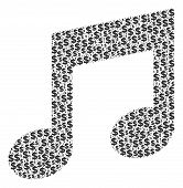 Music Notes Collage Of Dollars And Round Dots. Vector Money Icons Are Arranged Into Music Notes Coll poster
