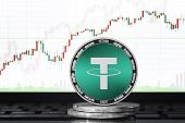 Tether (usdt) Cryptocurrency; Physical Concept Tether Coin On The Background Of The Chart poster