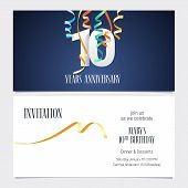 10 Years Anniversary Invitation To Celebrate The Event Vector Illustration. Design Template Element  poster