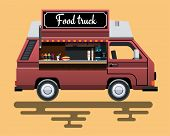 Street Fast Food Machine In A Flat Style. Fast Food Truck City Car. Fast-food Car. Street Food Truck poster