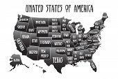 Poster Map Of United States Of America With State Names. Black And White Print Map Of Usa For T-shir poster