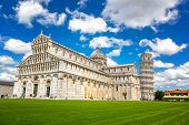 Cathedral and the Leaning Tower in Piazza dei Miracoli, Pisa, Italy. poster