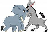 American Politics - Democratic Donkey Versus Republican Elephant poster