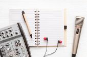 Audio Recording Studio Desk Table. Karaoke Mock Up. Song Lyrics. Microphone, Audio Sound Mixer, Blan poster