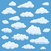 Clouds Isolated On Blue Sky Cloudy Bright Vector Cloudscape. Nature Air Weather Fluffy White Cloud I poster