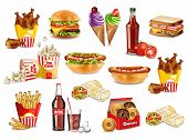 Постер, плакат: Fast Food Meals Set Collection Vector Realistic Detailed Collection Banner With Hotdog Burger San