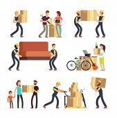 Family Moving Into New House. Man, Woman And Employees Carrying Boxes And Heavy Furniture Vector Cha poster