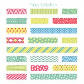 Scotch With Trendy Geometric Pattern. Adhesive Tape For Scrapbook Vector Set. Sticker Patterned, Tre poster