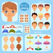 Boy Face Constructor Vector Kids Character And Guy Avatar Creation With Head Lips Eyes Illustration  poster