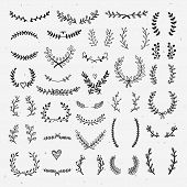 Lovely Laurels Collection. Beautiful Hand Drawn Wreaths And Floral Laurels Graphic Elements For Desi poster
