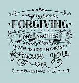 Hand Lettering Forgiving One Another Even As God In Christ Forgave You. Bible Verse. Christian Poste poster