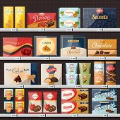 Chocolate Candies In Paper Packs, Sweets At Shop Or Store Showcase Or Stall, Market Stand Or Superma poster