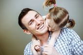 Happy Fathers Day! Dad And His Daughter Child Girl Are Playing, Smiling And Hugging. Family Holiday poster