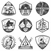 Vintage Monochrome Jazz Music Labels Set With Inscriptions Musician And Musical Instruments Isolated poster