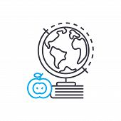 Geography Vector Thin Line Stroke Icon. Geography Outline Illustration, Linear Sign, Symbol Isolated poster